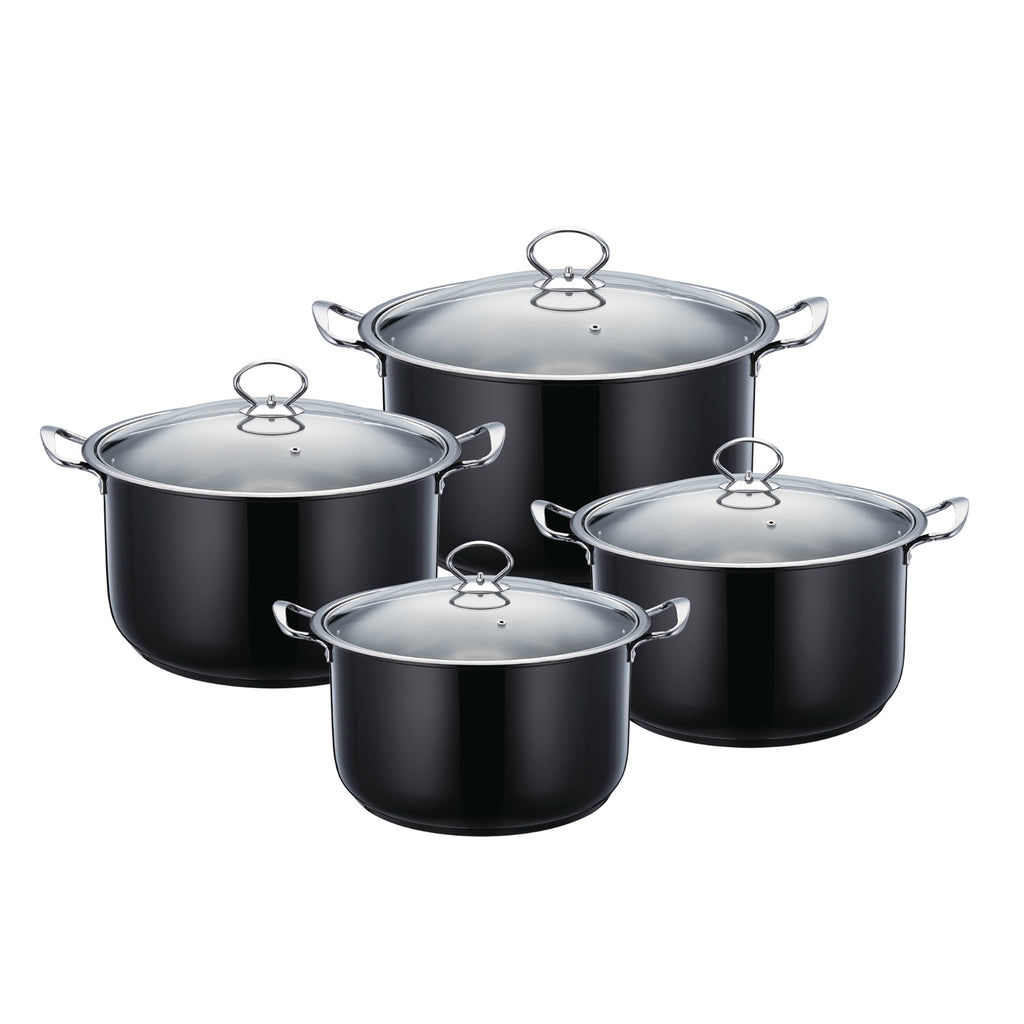 Gems Range Stainless Steel Casserole Set 4pc Stockpots With Lids - Black
