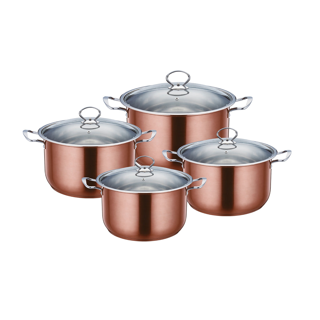 Gems Range Stainless Steel Casserole Set 4pc Stockpots With Lids - Copper