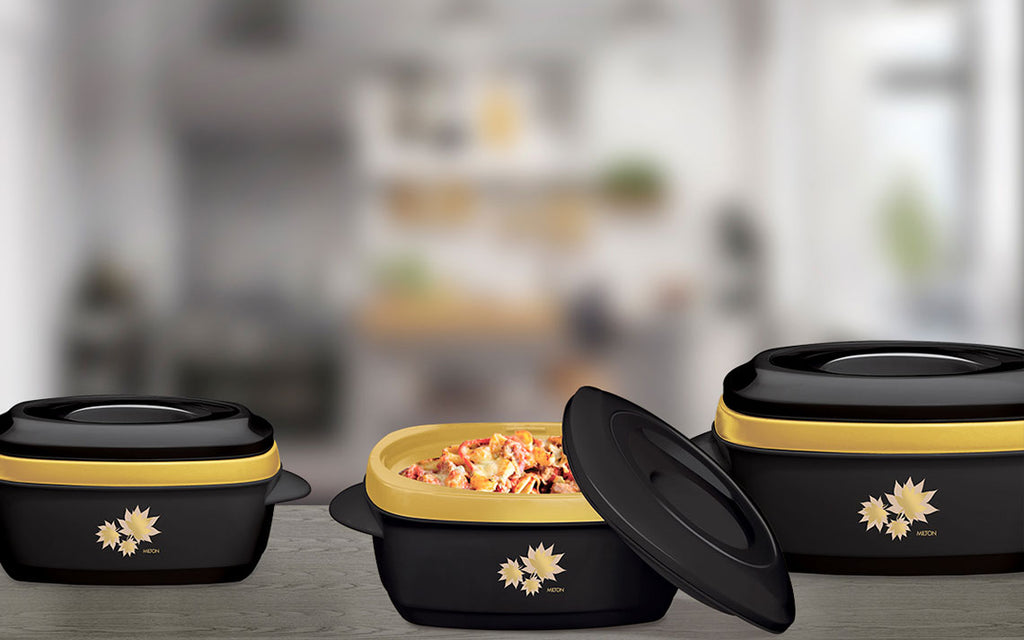Insulated Serving Dishes - Milano 3 Piece Thermal Hot Food Containers Set 1 L, 1.5 L & 2.5 L
