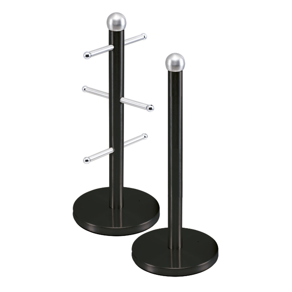 Metallic Mug Tree Cup Rack & Kitchen Roll Holder Stand Set - Onyx Black