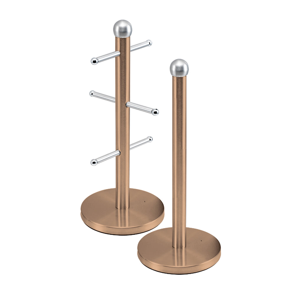 Metallic Mug Tree Cup Rack & Kitchen Roll Holder Stand Set - Copper Colour