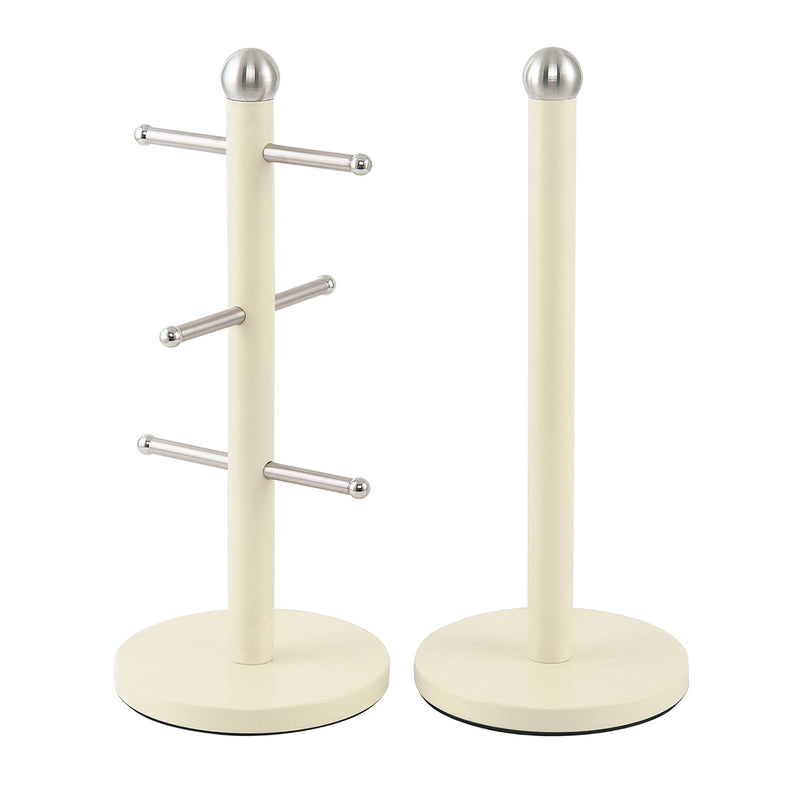 Dainty Mug Tree Cup Rack & Kitchen Roll Holder Stand Set - Cream