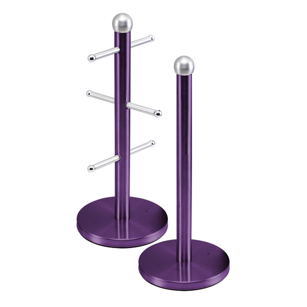 Metallic Mug Tree Cup Rack & Kitchen Roll Holder Stand Set - Amethyst Purple