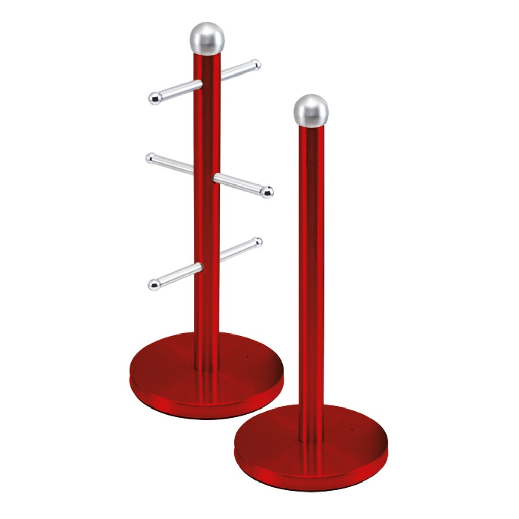 Metallic Mug Tree Cup Rack & Kitchen Roll Holder Stand Set - Ruby Red