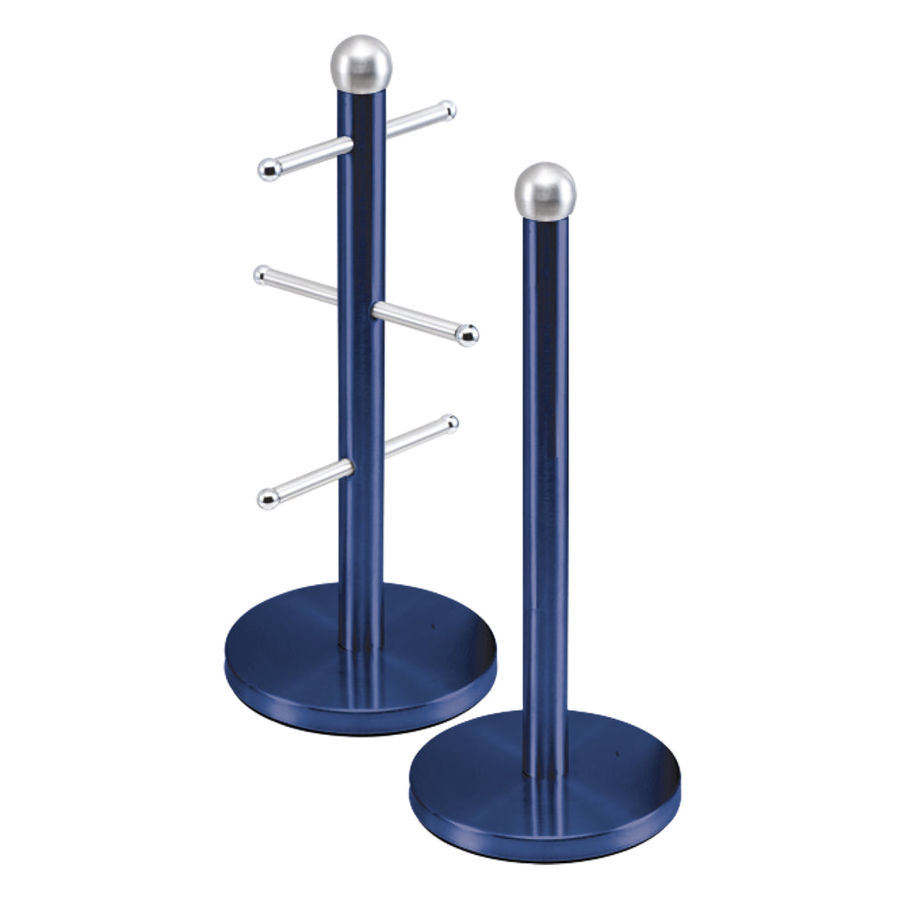 Metallic Mug Tree Cup Rack & Kitchen Roll Holder Stand Set - Sapphire Blue