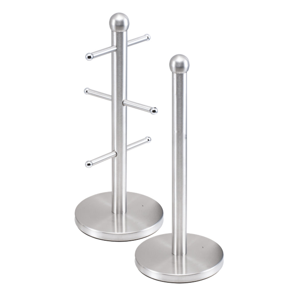 Metallic Mug Tree Cup Rack & Kitchen Roll Holder Stand Set - Quartz Silver