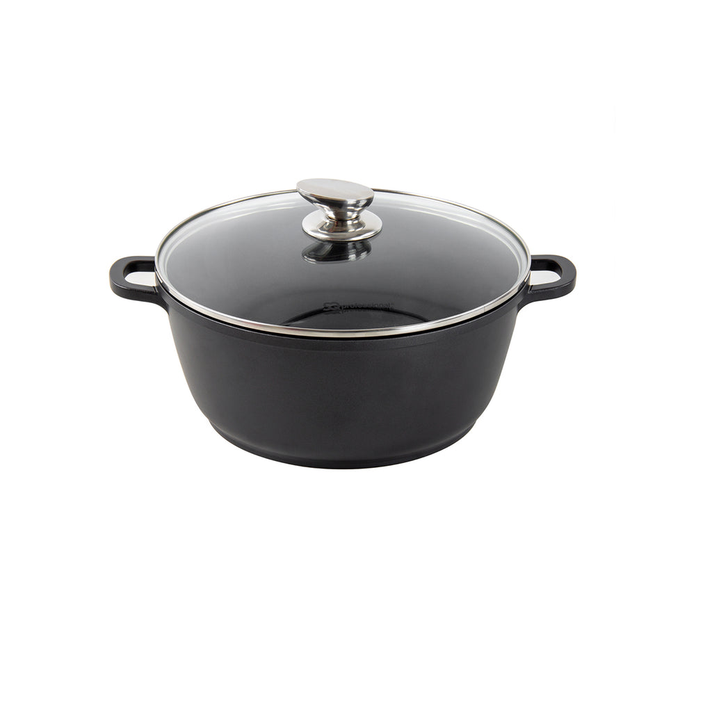 Nea Die-cast Casserole Non-stick Stockpot with Lid, Black - 20 cm