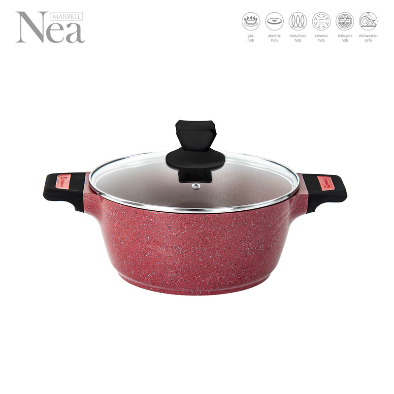 Nea Die-cast Non-stick Marble Coated Stockpot with Glass Lid, Red - 20 cm