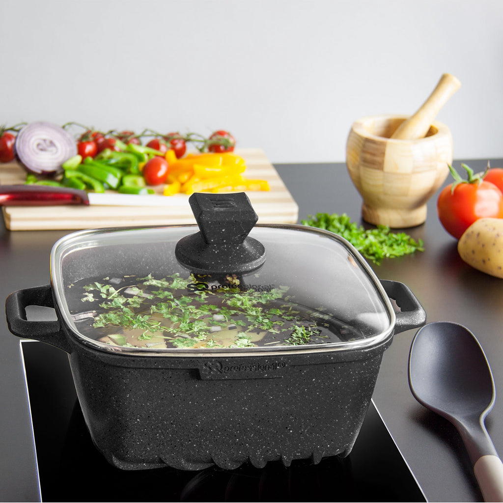 Nea Marble Square Diecast 4pc Casserole Set, Non-stick Stockpots, Black
