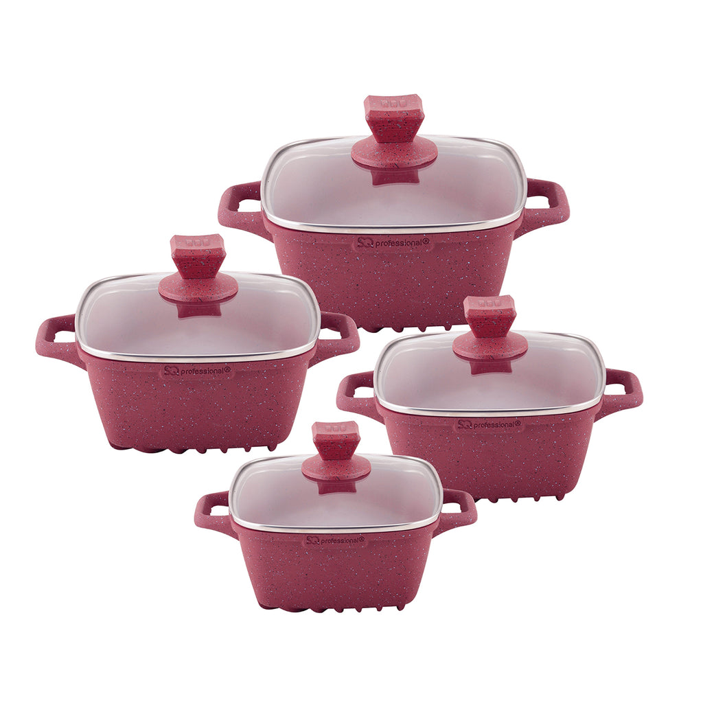 Nea Marble Square Diecast 4pc Casserole Set, Non-stick Stockpots, Red