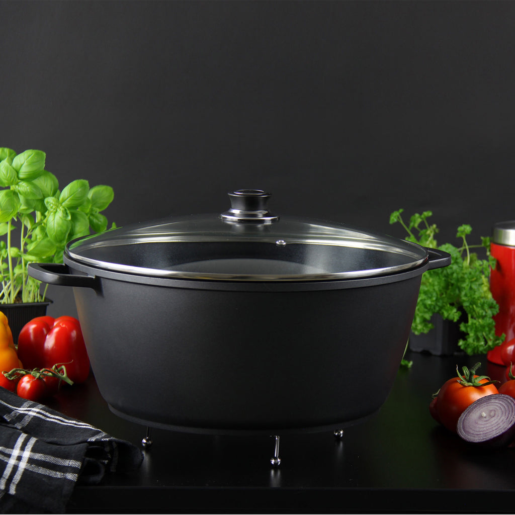 Nea Die-cast Casserole Non-stick Stockpot with Lid, Black - 44 cm