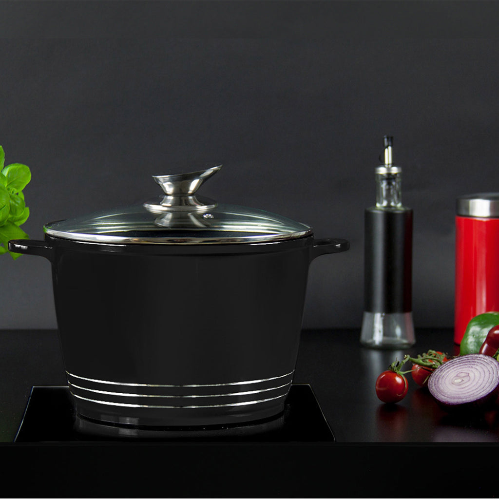 Nea Die-cast Casserole Stockpot With Induction Base - 28 cm, Black