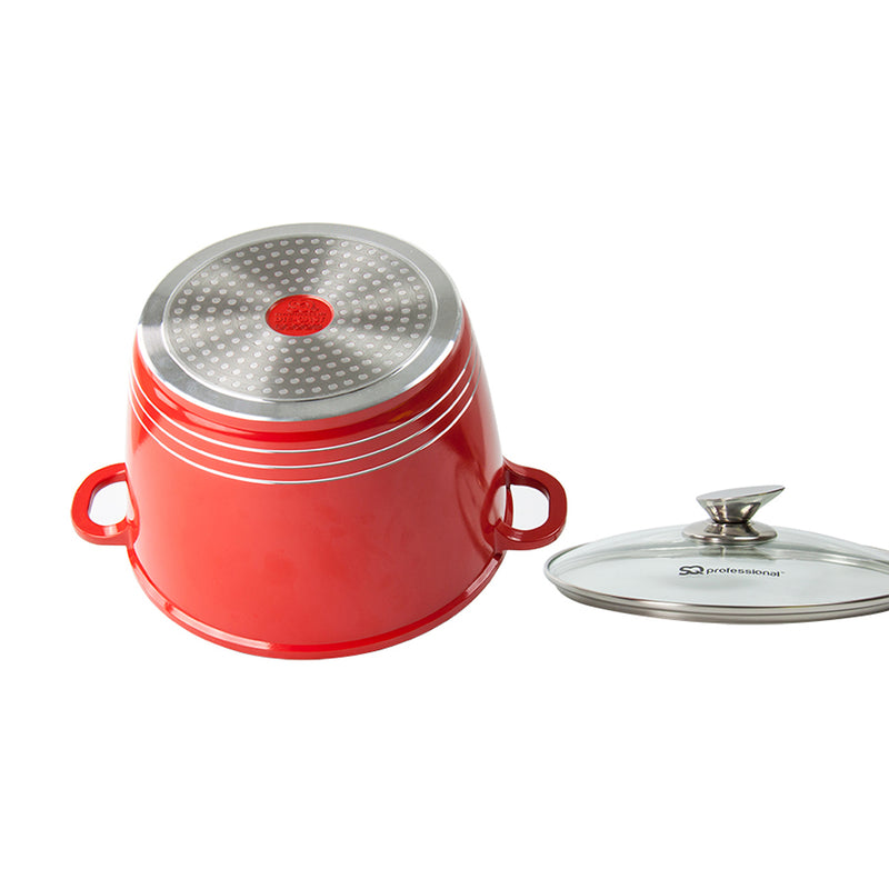 Nea Die-cast Casserole Stockpot With Induction Base - 24 cm, Red