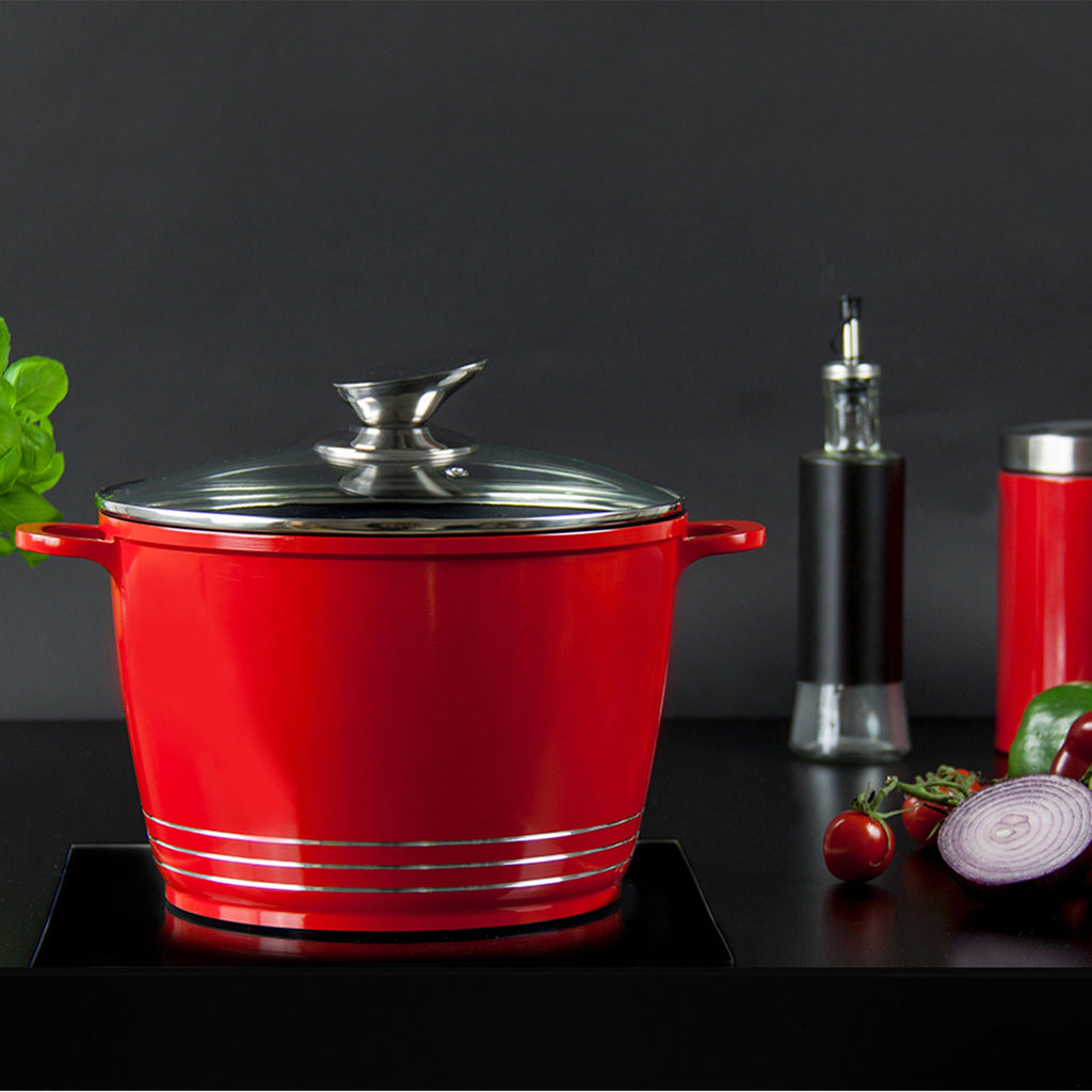 Nea Die-cast Casserole Stockpot With Induction Base - 28 cm, Red