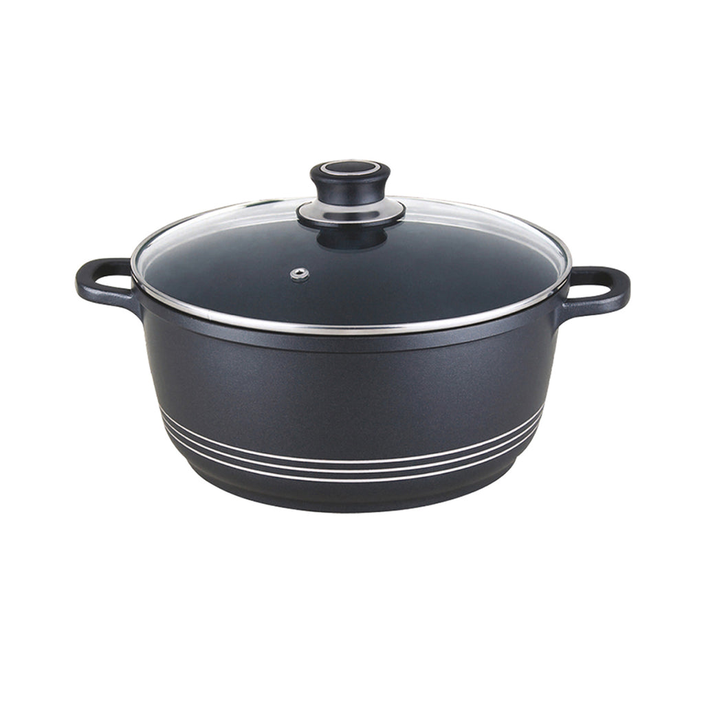 Nea Die-cast Casserole Non-stick Stockpot with Lid, Black - 32 cm