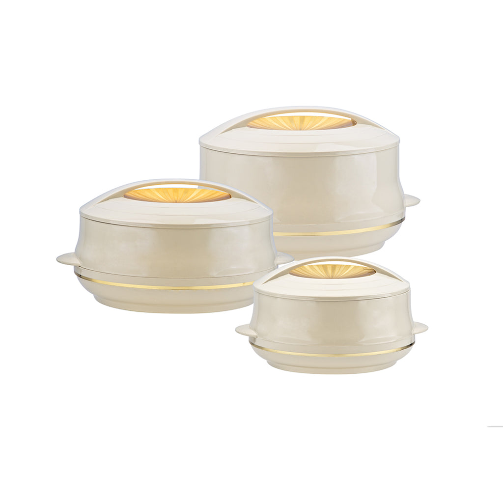 Insulated Serving Dishes - Olympic 3 Piece Thermal Hot Food Containers Set, Beige