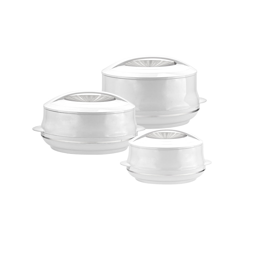 Insulated Serving Dishes - Olympic 3 Piece Thermal Hot Food Containers Set, White