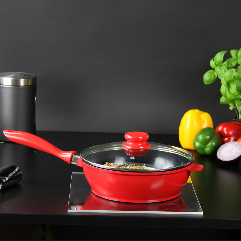 Nea Ceramic Coated Non-stick Saute Pan with Lid 24 cm - Red