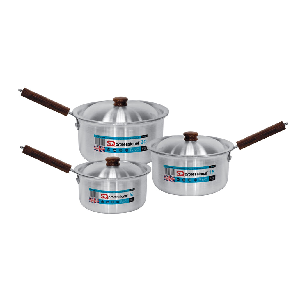 Pavo Aluminium Saucepan Set with lids 3pc, 16cm, 18cm & 20cm - Silver