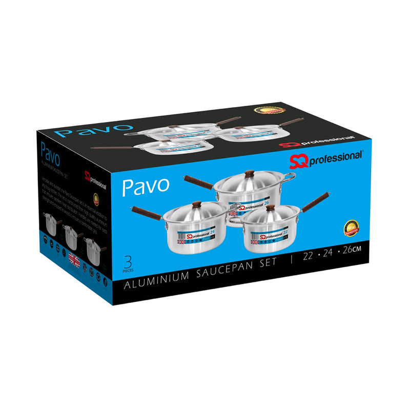 Pavo Aluminium Saucepan Set with lids 3pc, 22cm, 24cm & 26cm - Silver