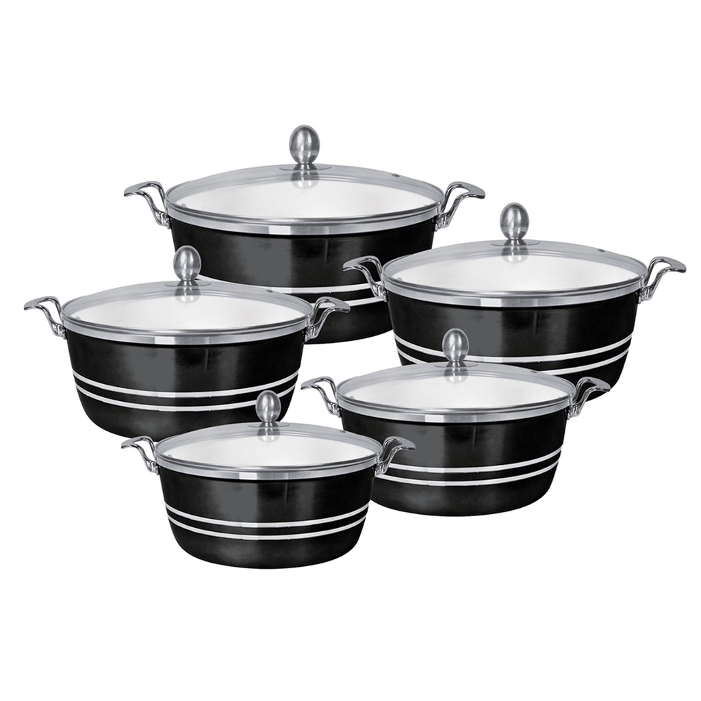 Die-Cast 5 Piece Ceramic Non-Stick Casserole Stockpot Set With Lids, Black