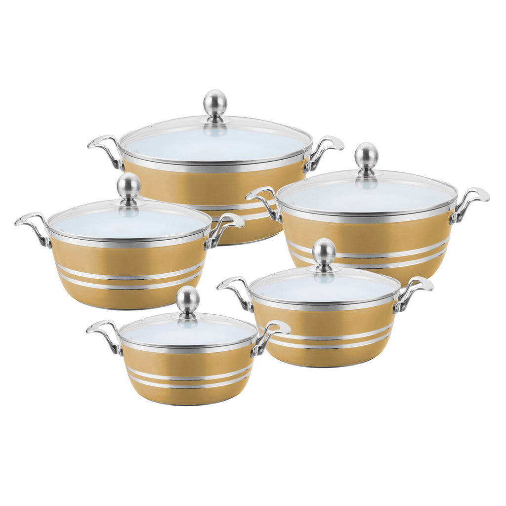 Die-Cast 5 Piece Ceramic Non-Stick Casserole Stockpot Set With Lids, Bronze