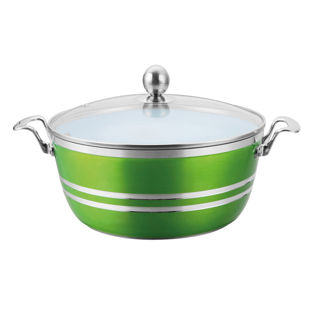 Die-Cast 5 Piece Ceramic Non-Stick Casserole Stockpot Set With Lids, Green