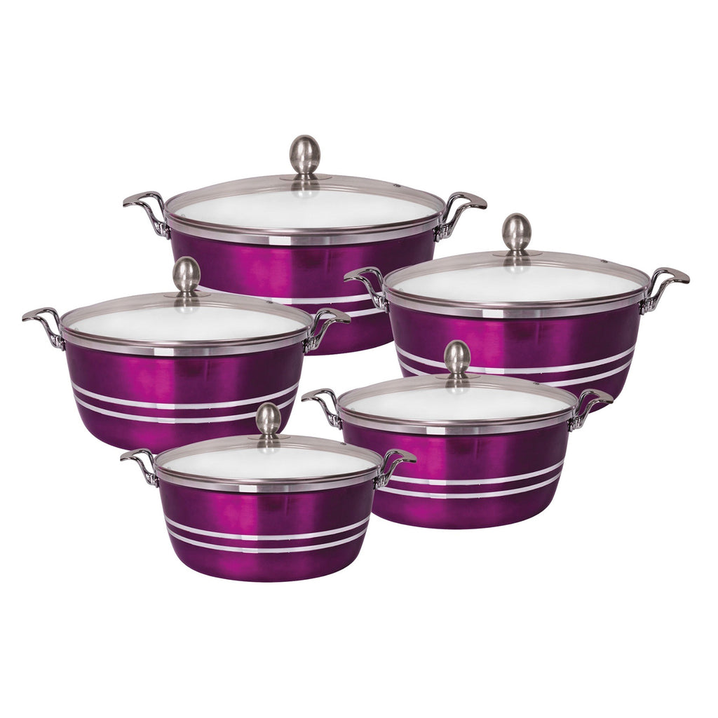 Die-Cast 5 Piece Ceramic Non-Stick Casserole Stockpot Set With Lids, Purple