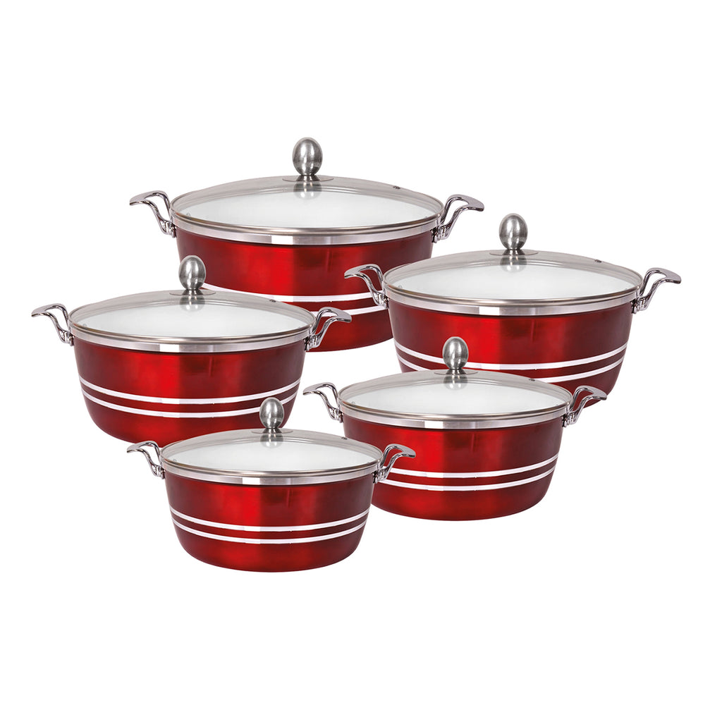 Die-Cast 5 Piece Ceramic Non-Stick Casserole Stockpot Set With Lids, Red