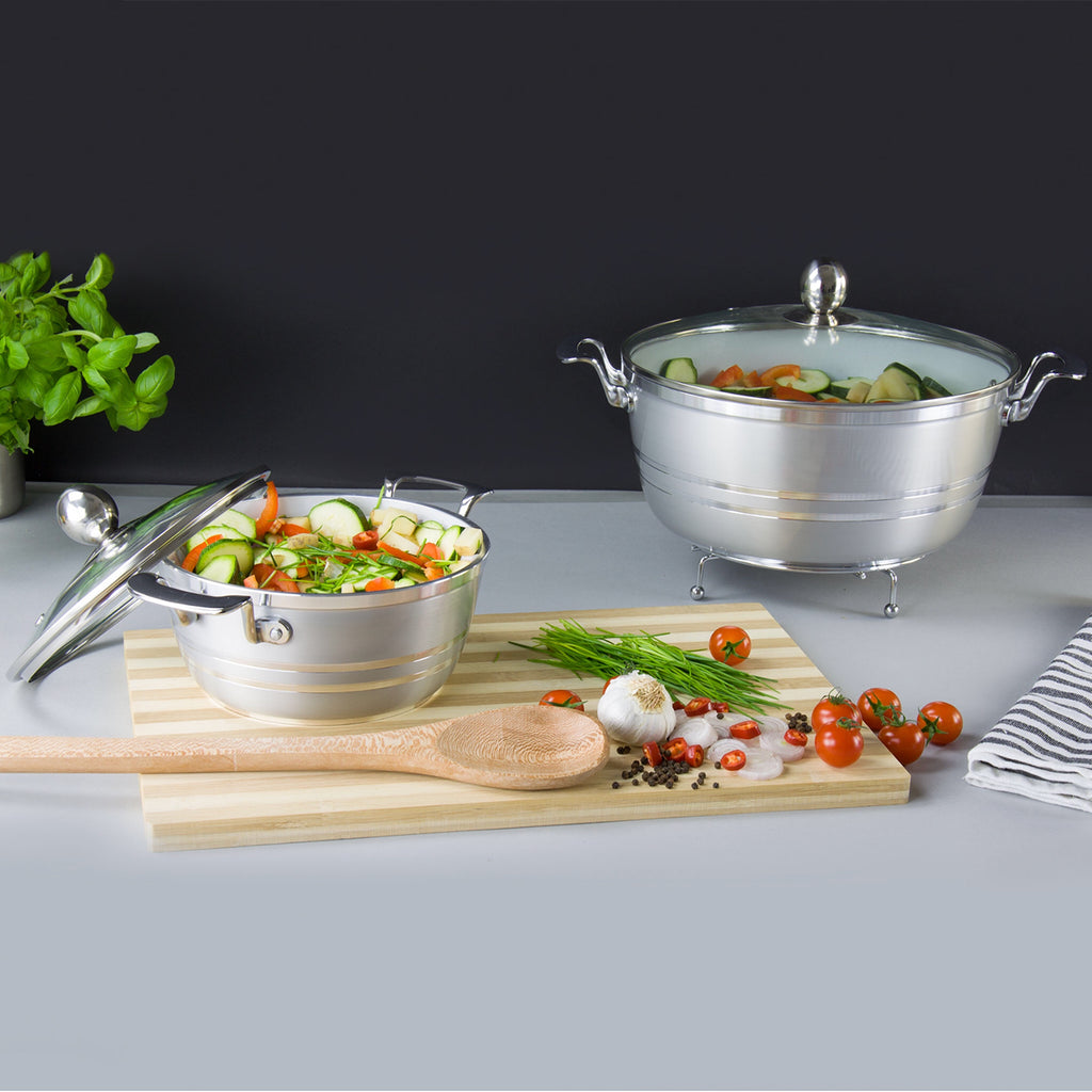 Die-Cast 5 Piece Ceramic Non-Stick Casserole Stockpot Set With Lids, Silver