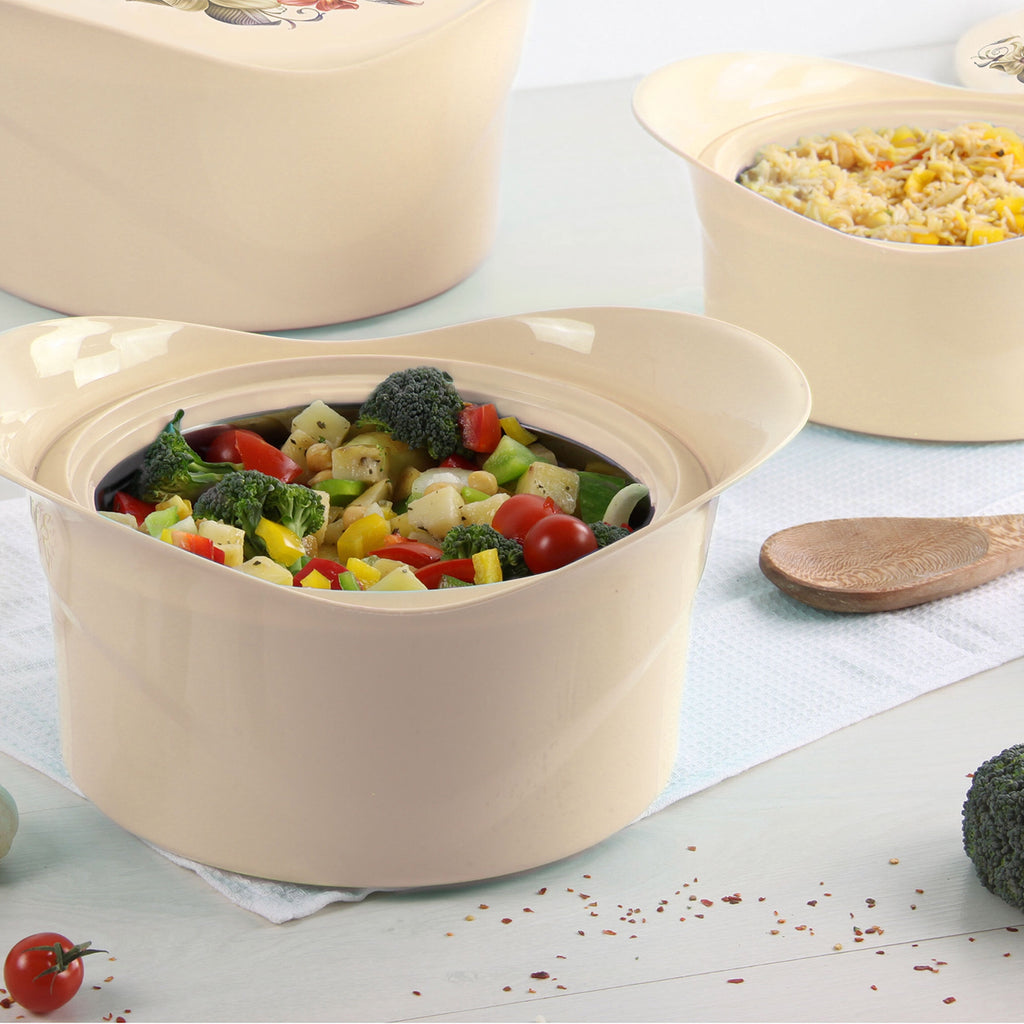Insulated Serving Dishes - Regalia 3 Piece Thermal Hot Food Containers Set 1 L, 1.5 L & 2.5 L, Beige