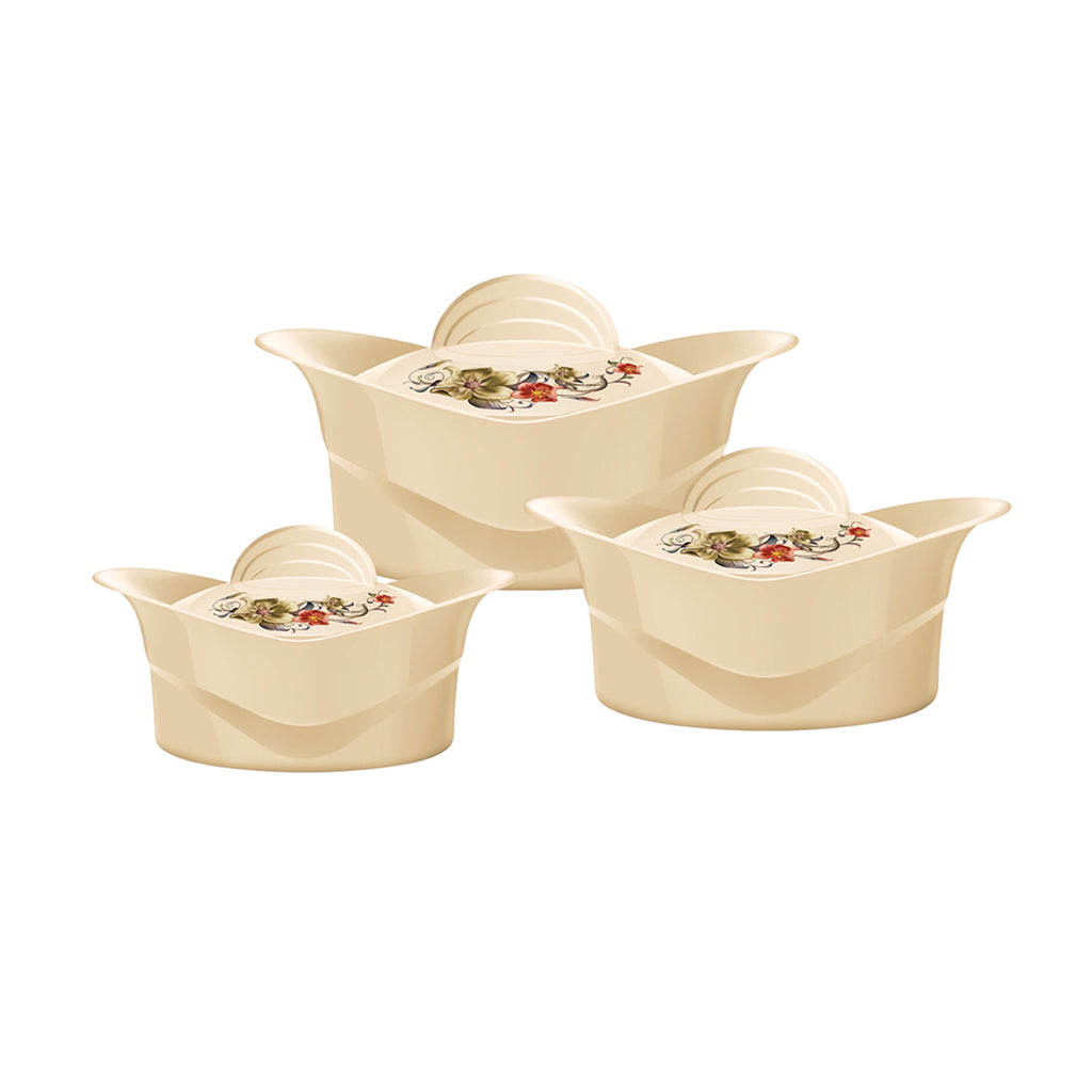 Insulated Serving Dishes - Regalia 3 Piece Thermal Hot Food Containers Set 2.5 L, 3.5 L & 5 L, Beige