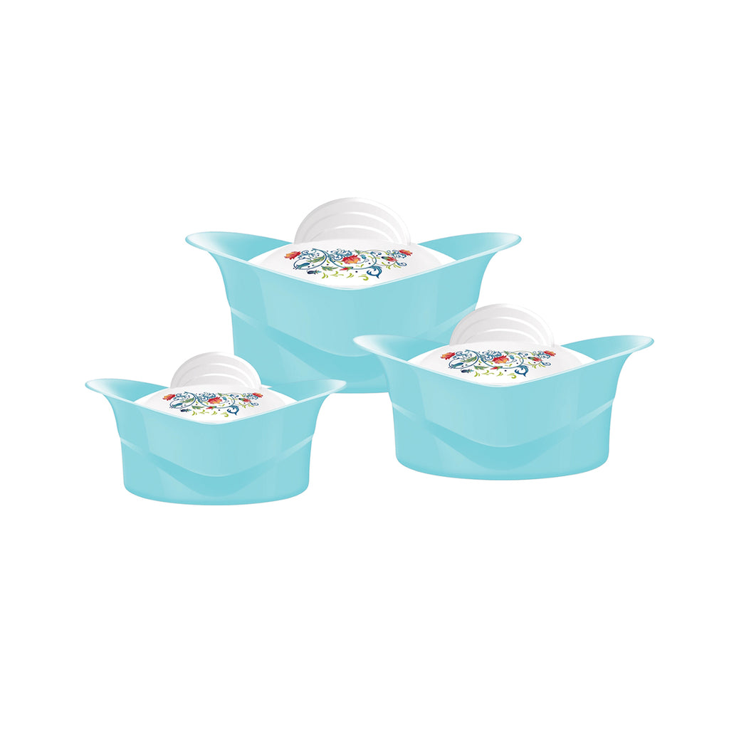 Insulated Serving Dishes - Regalia 3 Piece Thermal Hot Food Containers Set 1 L, 1.5 L & 2.5 L, Blue