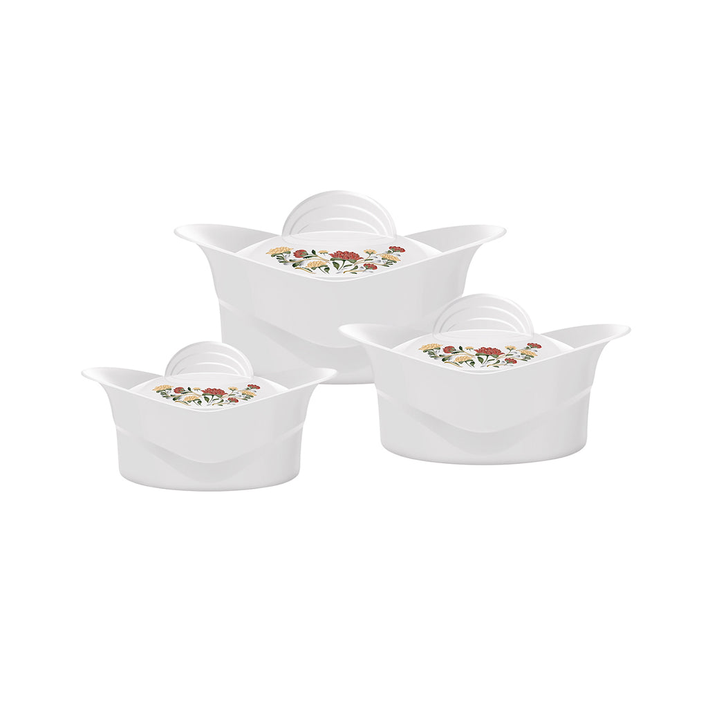 Insulated Serving Dishes - Regalia 3 Piece Thermal Hot Food Containers Set 1 L, 1.5 L & 2.5 L, White