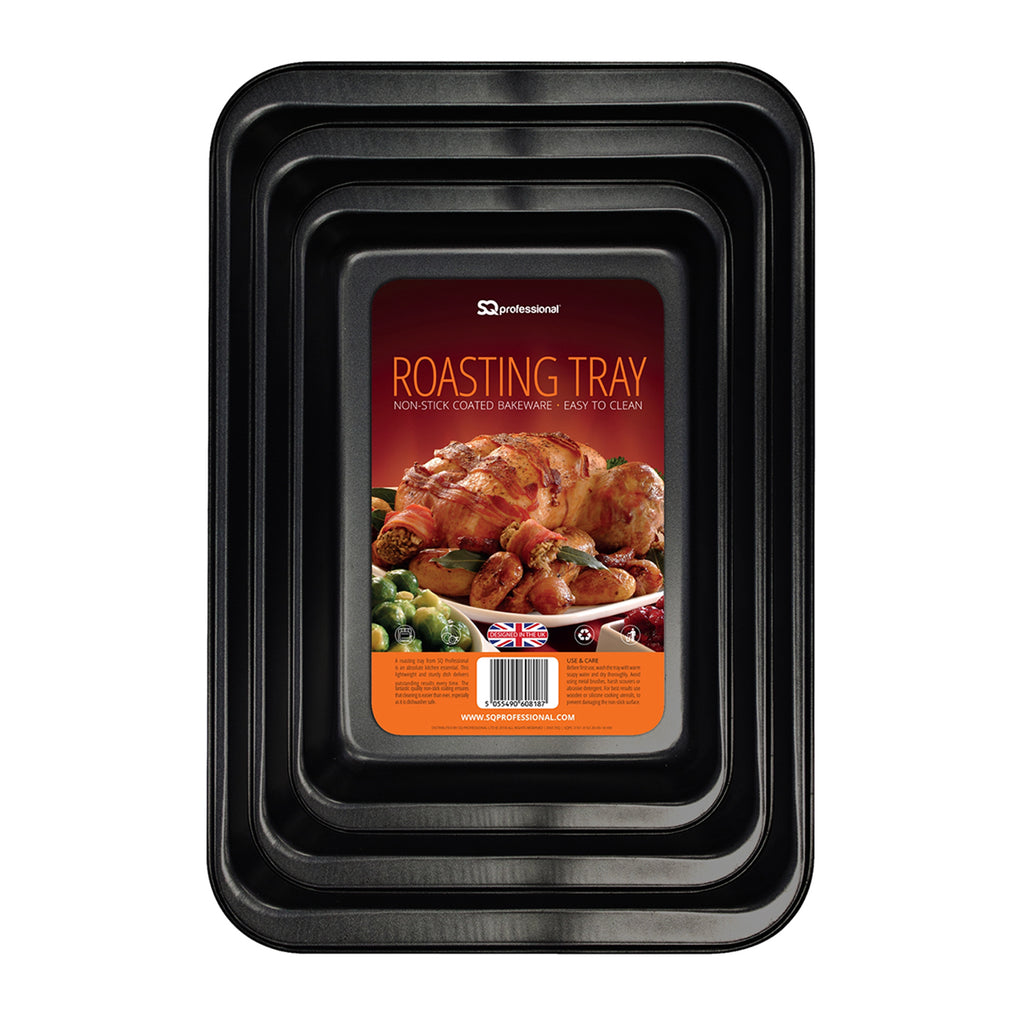 Non-stick Baking/Roasting Tray Set, Carbon Steel - 37.5 cm, 42.5 cm & 47.5 cm