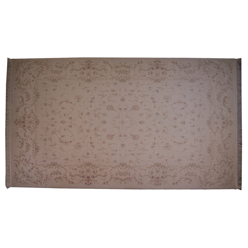 Atlantic Nuance Beige Silk Embroidered Wool Rug - 200x300cm, Thickness 18mm