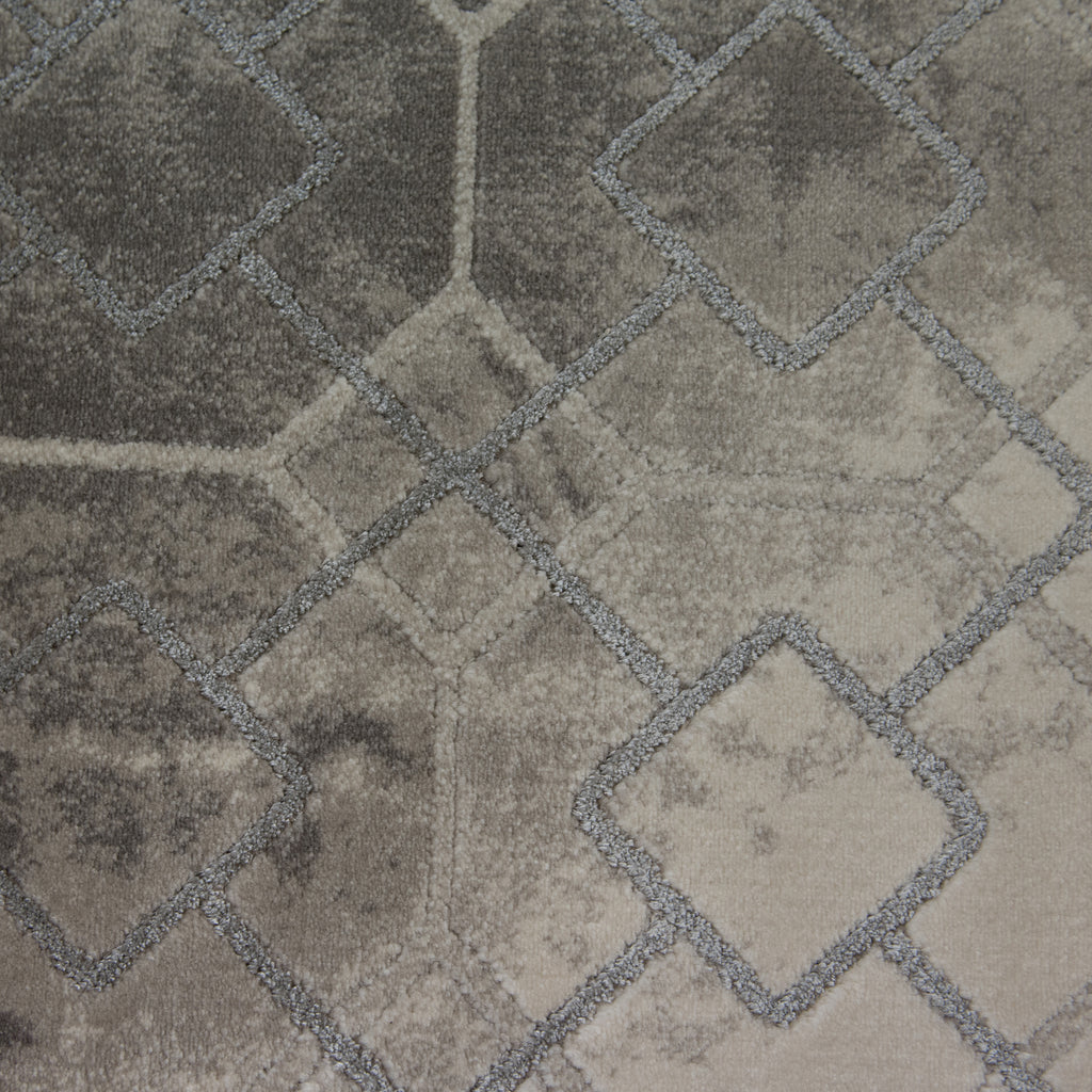 Alvino Silver Grey Polypropylene Rug - 120 x 170cm, Thickness 15mm