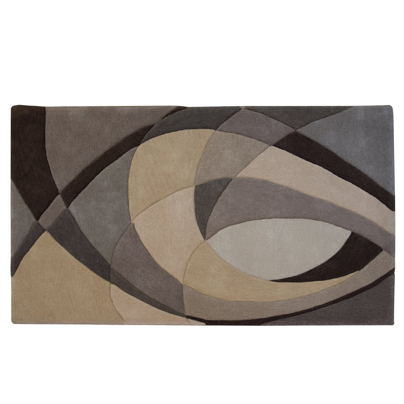 Brown/Grey Stripes Wool Rug - 200 x 140cm, Pile Height 20-25mm