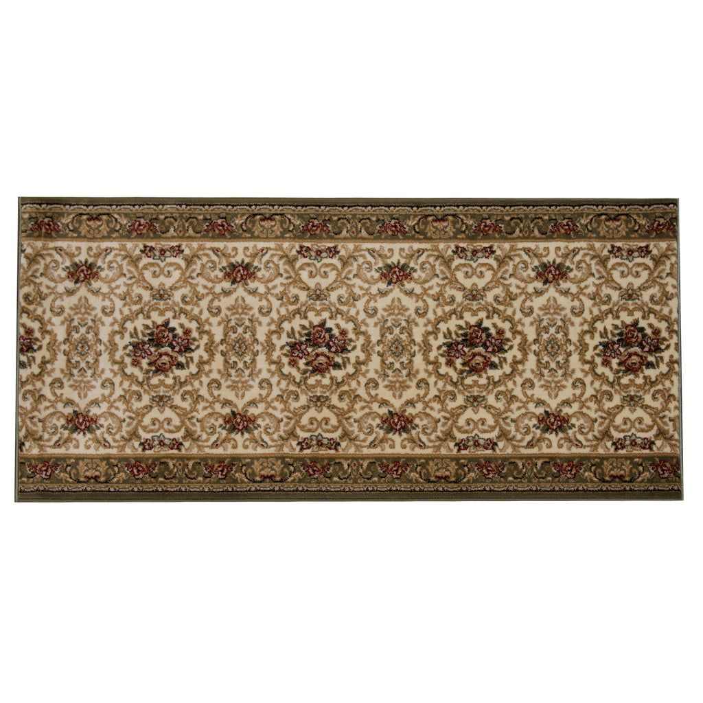 Virsage Green/Beige Polypropylene Rug - 60 x 160cm, Thickness 15mm