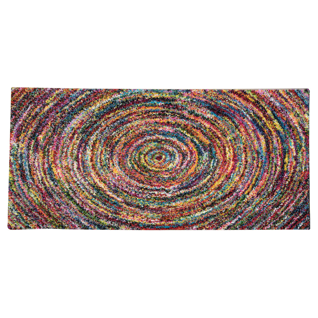 Black Mika Senda Multicoloured Polypropylene Rug - 120 x 170cm, Pile Height 28mm