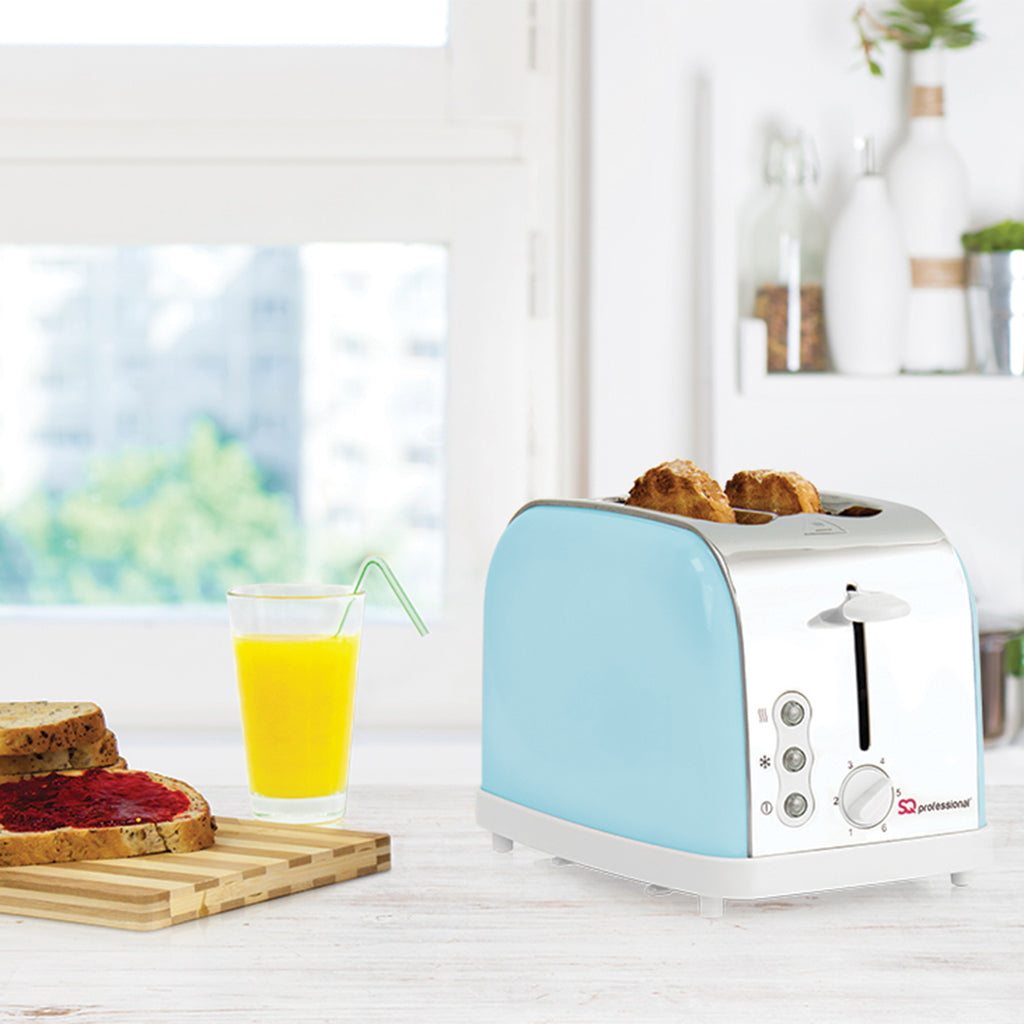 Legacy 900W Toaster with Reheat, Defrost & Cancel, Stainless Steel - Light Blue