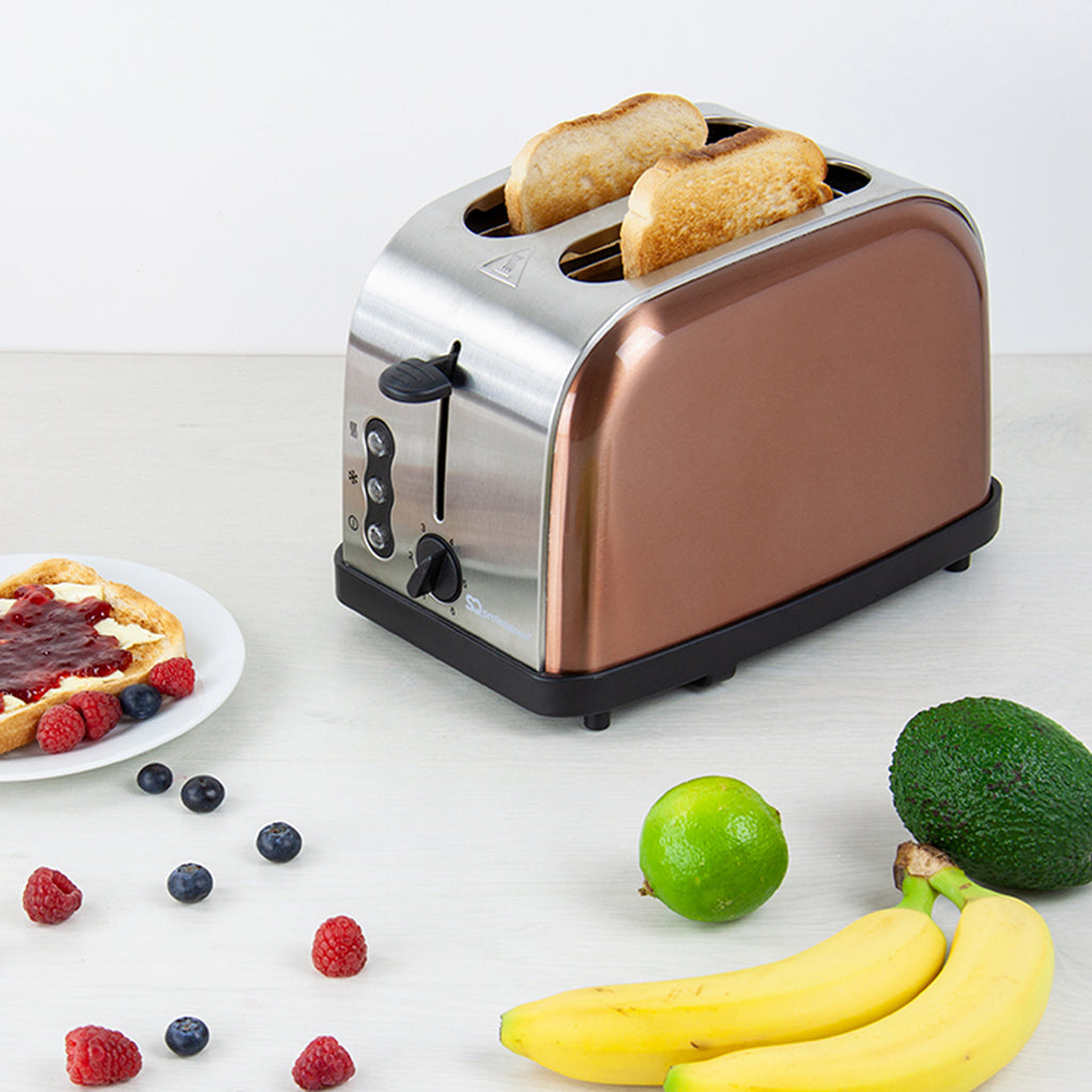 Legacy 900W Toaster with Reheat, Defrost & Cancel, Stainless Steel - Copper Colour