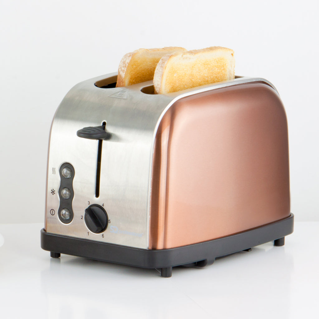 Legacy 900W Toaster with Reheat, Defrost & Cancel, Stainless Steel,Copper Colour