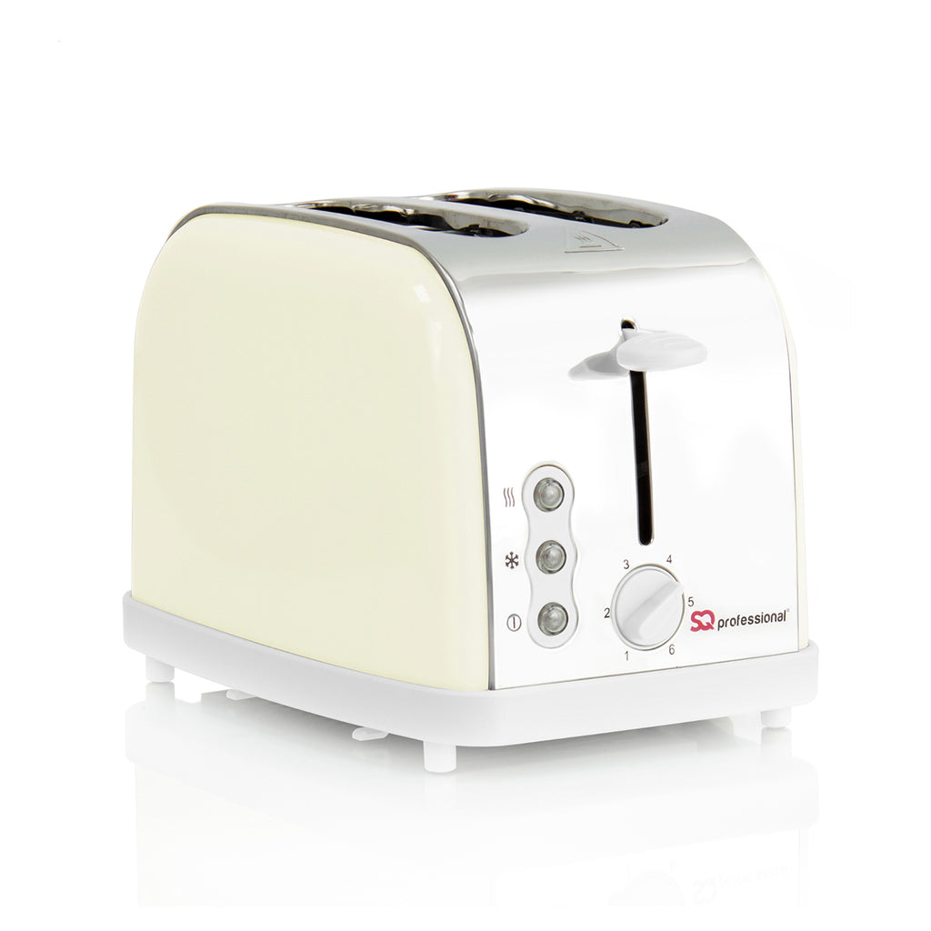 Legacy 900W Toaster with Reheat, Defrost & Cancel, Stainless Steel - Cream