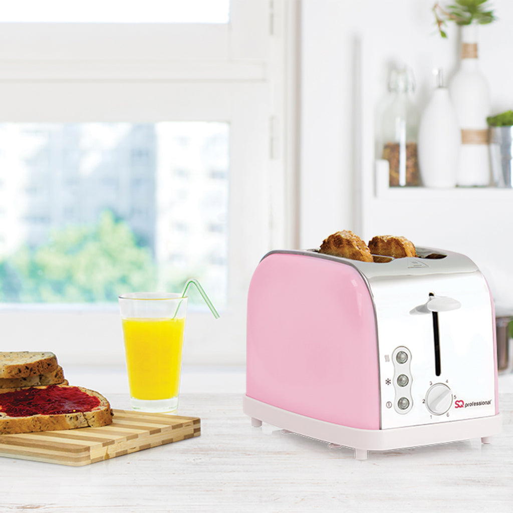 Legacy 900W Toaster with Reheat, Defrost & Cancel, Stainless Steel - Pink