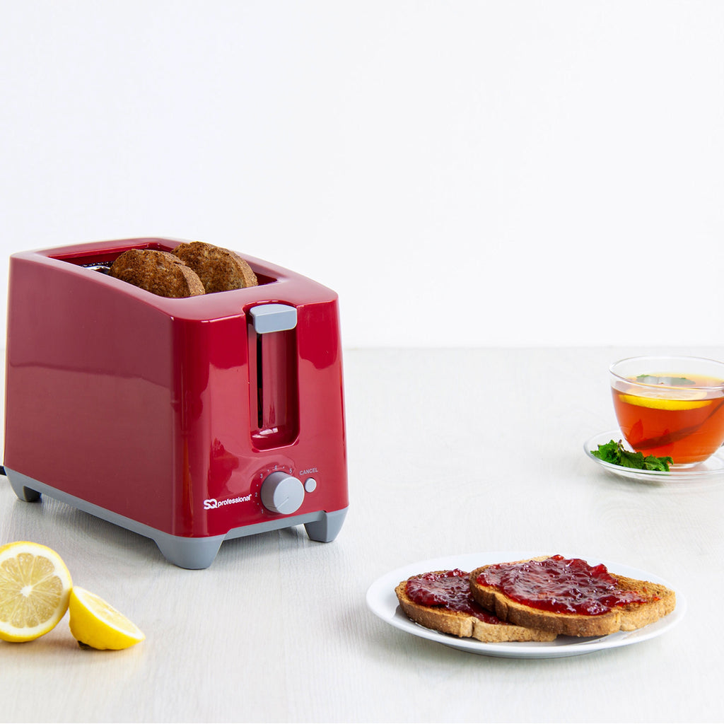 Two Slice Toaster with Cancel Function & Browning Control, 750W, Plastic - Red