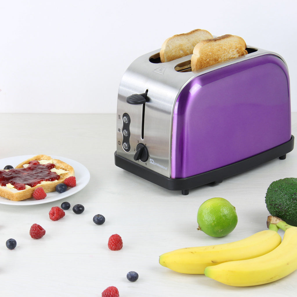 Legacy 900W Toaster with Reheat, Defrost & Cancel, Stainless Steel - Purple