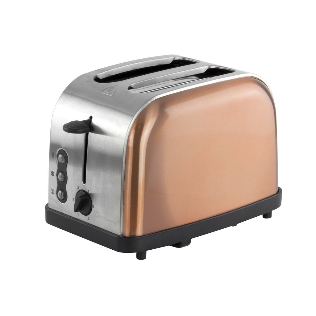 Toasters - Axinite Toaster - Reheat, Defrost & Cancel, Stainless Steel, Copper Colour