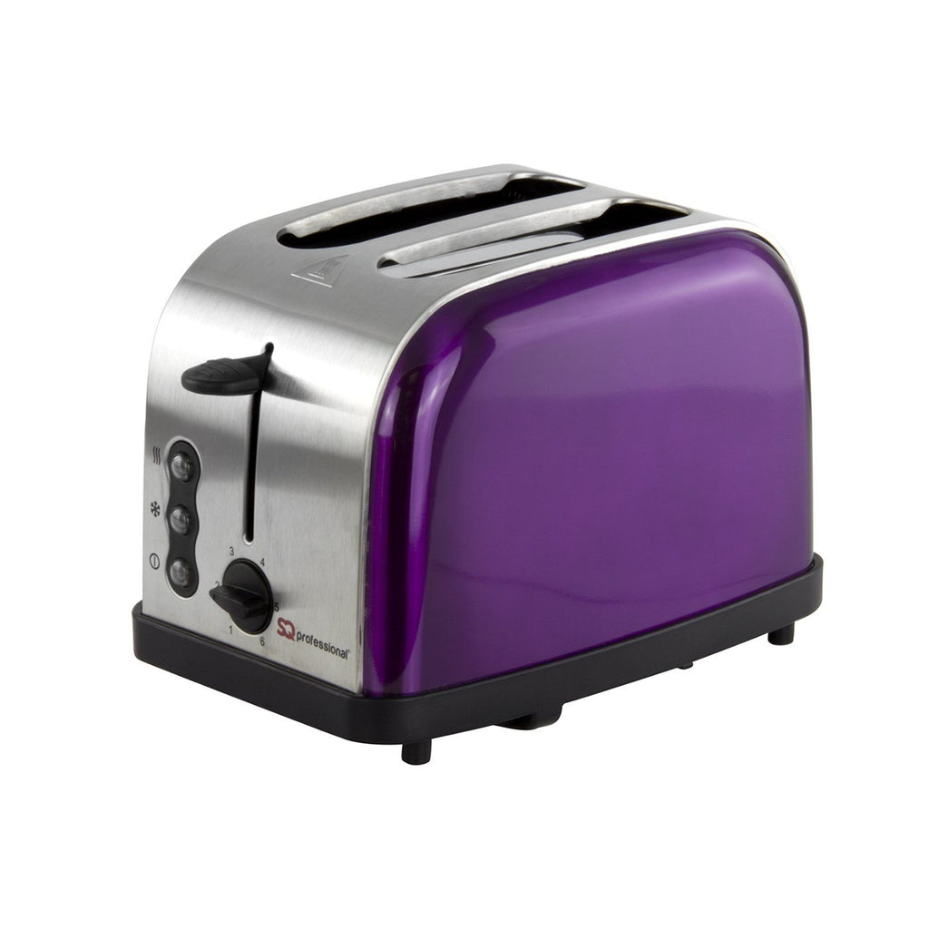 Toasters - Legacy 900W Toaster With Reheat, Defrost And Cancel, Stainless Steel - Purple