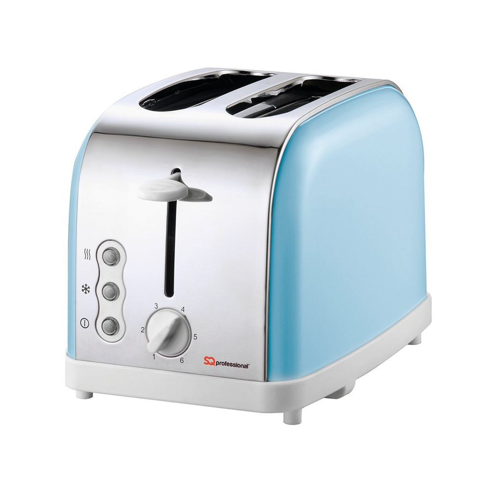 Toasters - Legacy 900W Toaster With Reheat, Defrost & Cancel, Stainless Steel - Light Blue